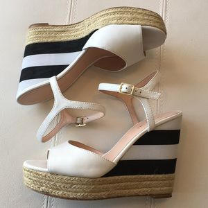 Kate spade white striped black and white wedges